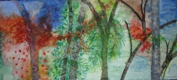 'look at the trees from master's favorite room' - watercolors (155x75cm)